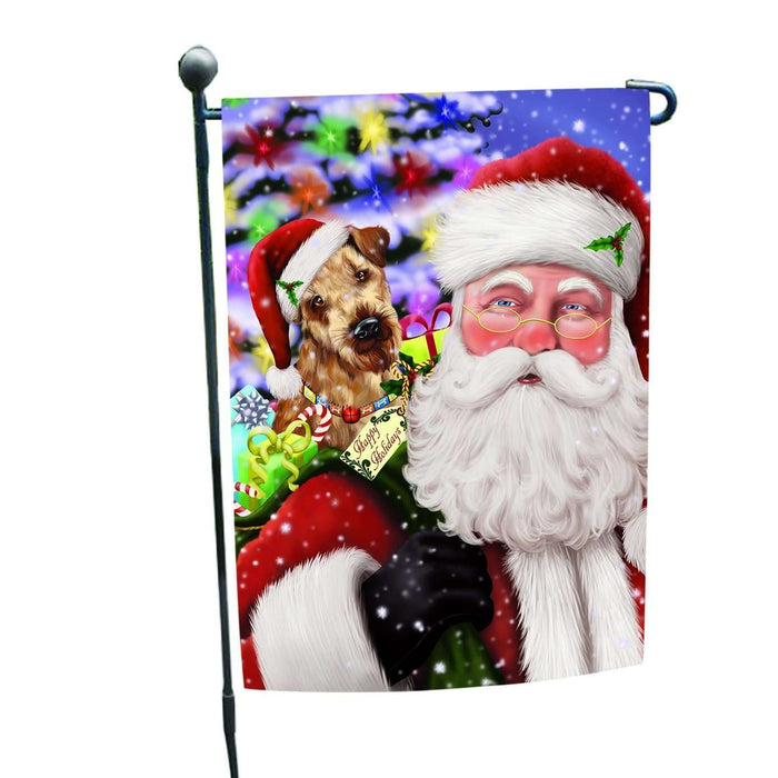 Jolly Old Saint Nick Santa Holding Airedales Dog and Happy Holiday Gifts Garden Flag