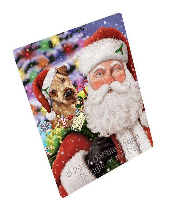 Jolly Old Saint Nick Santa Holding Airedales Dog Art Portrait Print Woven Throw Sherpa Plush Fleece Blanket
