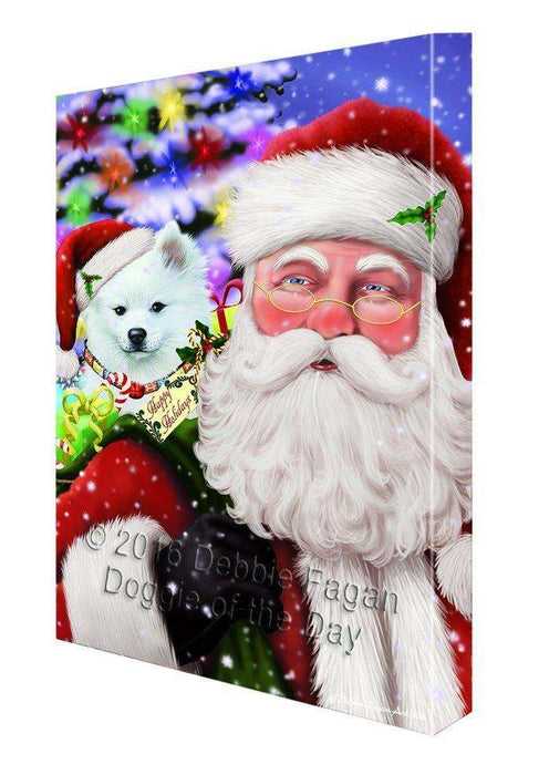 Jolly Old Saint Nick Santa Holding American Eskimo Dog and Happy Holiday Gifts Canvas Wall Art