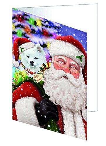 Jolly Old Saint Nick Santa Holding American Eskimo Dog and Happy Holiday Gifts Greeting Card