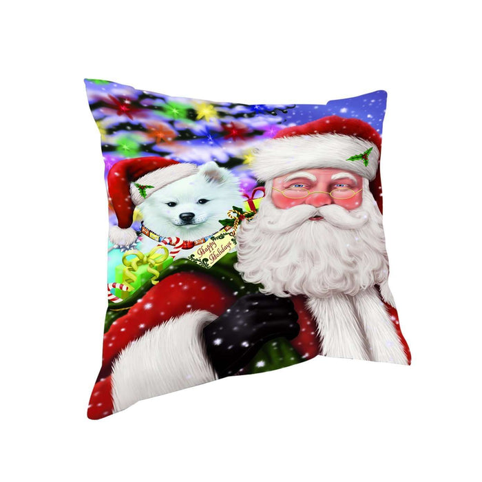 Jolly Old Saint Nick Santa Holding American Eskimo Dog and Happy Holiday Gifts Throw Pillow