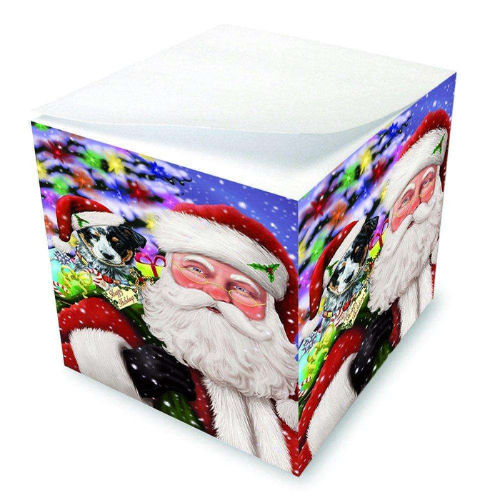 Jolly Old Saint Nick Santa Holding Australian Cattle Dog and Happy Holiday Gifts Note Cube D199