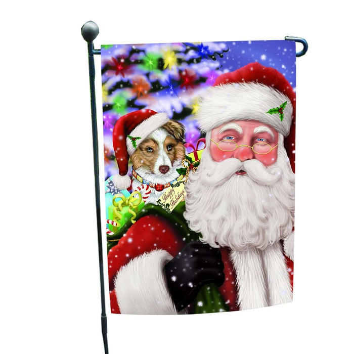 Jolly Old Saint Nick Santa Holding Australian Shepherd Dog and Happy Holiday Gifts Garden Flag
