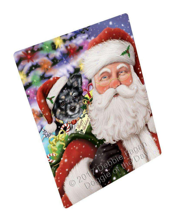 "Jolly Old Saint Nick Santa Holding Australian Shepherd Dog And Happy Holiday Gifts Magnet Mini (3.5"" x 2"")"