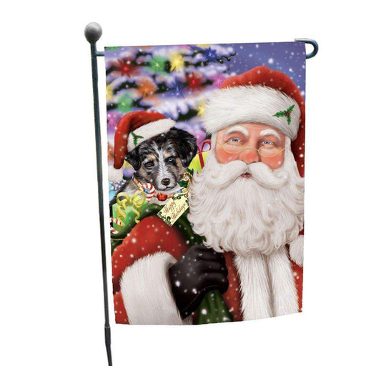 Jolly Old Saint Nick Santa Holding Australian Shepherds Dog and Happy Holiday Gifts Garden Flag