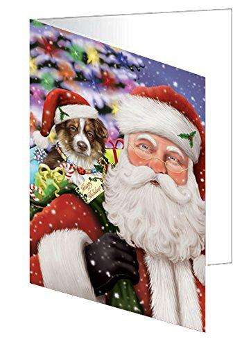 Jolly Old Saint Nick Santa Holding Australian Shepherds Dog and Happy Holiday Gifts Note Card
