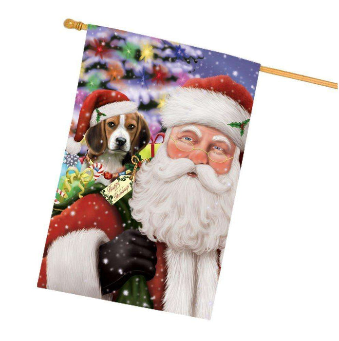 Jolly Old Saint Nick Santa Holding Beagles Dog and Happy Holiday Gifts House Flag