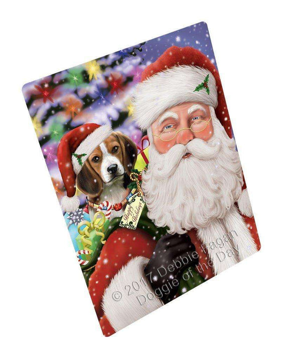 "Jolly Old Saint Nick Santa Holding Beagles Dog And Happy Holiday Gifts Magnet Mini (3.5"" x 2"")"