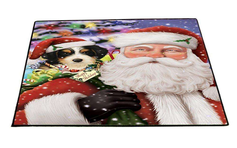 Jolly Old Saint Nick Santa Holding Bernedoodle Dog Christmas Holiday Presents Indoor/Outdoor Floormat