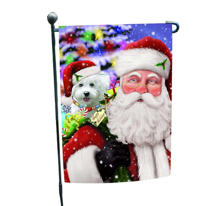 Jolly Old Saint Nick Santa Holding Bichon Dog and Happy Holiday Gifts Garden Flag