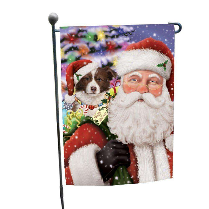 Jolly Old Saint Nick Santa Holding Border Collies Dog and Happy Holiday Gifts Garden Flag