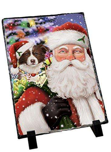 Jolly Old Saint Nick Santa Holding Border Collies Dog and Happy Holiday Gifts Photo Slate