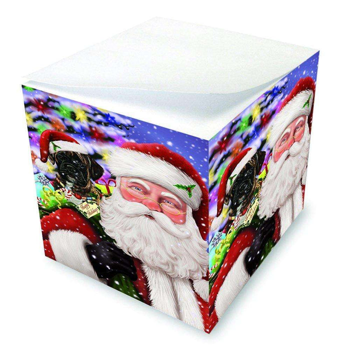 Jolly Old Saint Nick Santa Holding Boxers Dog and Happy Holiday Gifts Note Cube D210