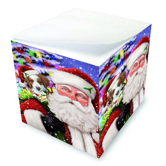 Jolly Old Saint Nick Santa Holding Brittany Spaniel Dog and Happy Holiday Gifts Note Cube D231