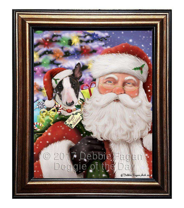 Jolly Old Saint Nick Santa Holding Bull Terrier Dog and Happy Holiday Gifts Framed Canvas Print Wall Art