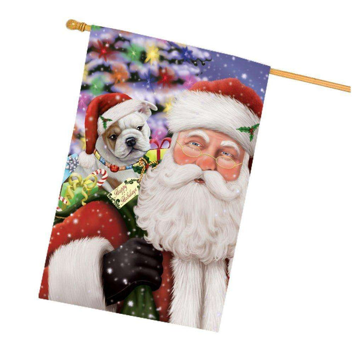 Jolly Old Saint Nick Santa Holding Bulldogs Dog and Happy Holiday Gifts House Flag