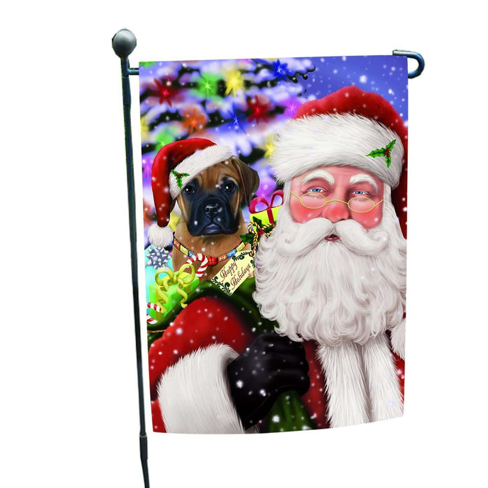 Jolly Old Saint Nick Santa Holding Bullmastiff Dog and Happy Holiday Gifts Garden Flag