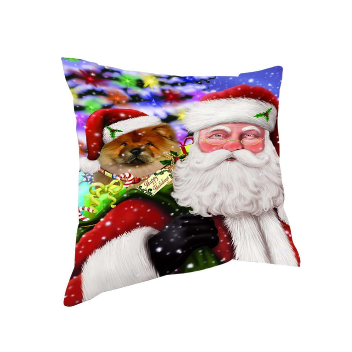 Jolly Old Saint Nick Santa Holding Chow Chow Dog and Happy Holiday Gifts Throw Pillow