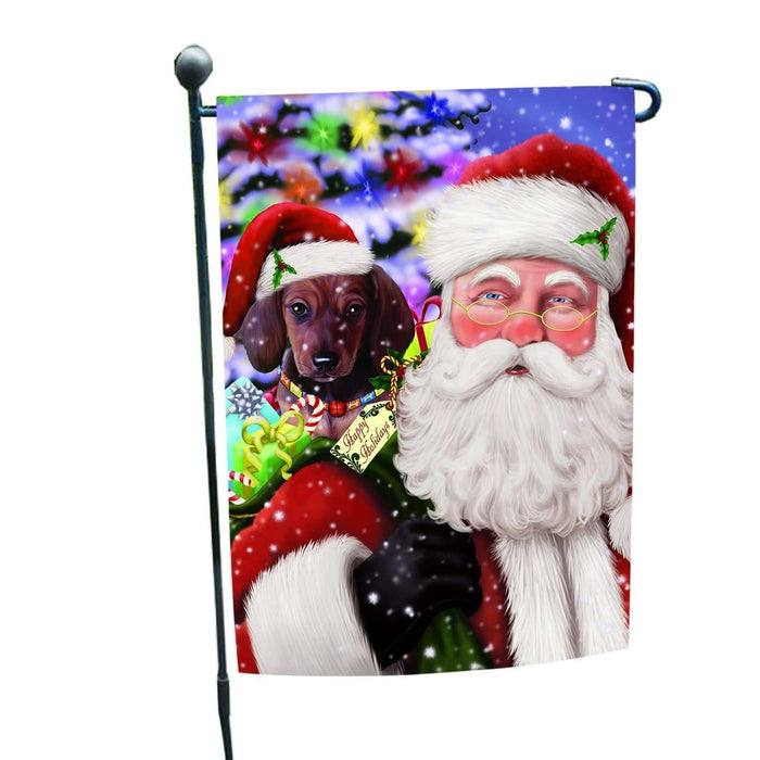 Jolly Old Saint Nick Santa Holding Dachshunds Dog and Happy Holiday Gifts Garden Flag