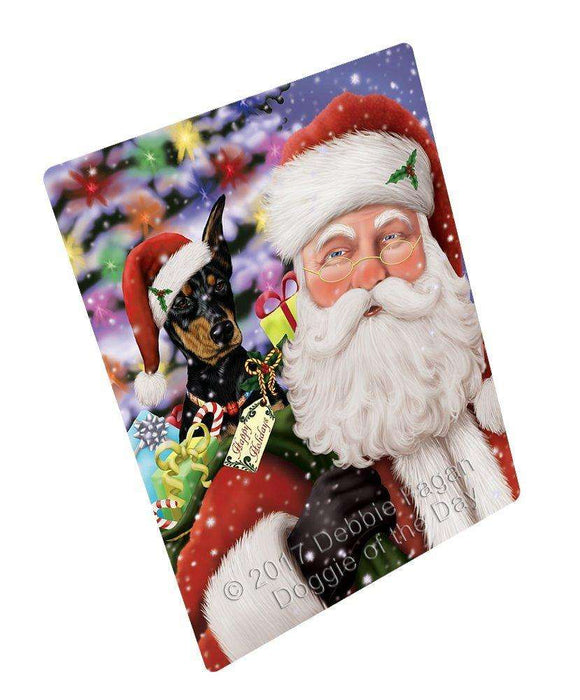 Jolly Old Saint Nick Santa Holding Doberman Dog Art Portrait Print Woven Throw Sherpa Plush Fleece Blanket