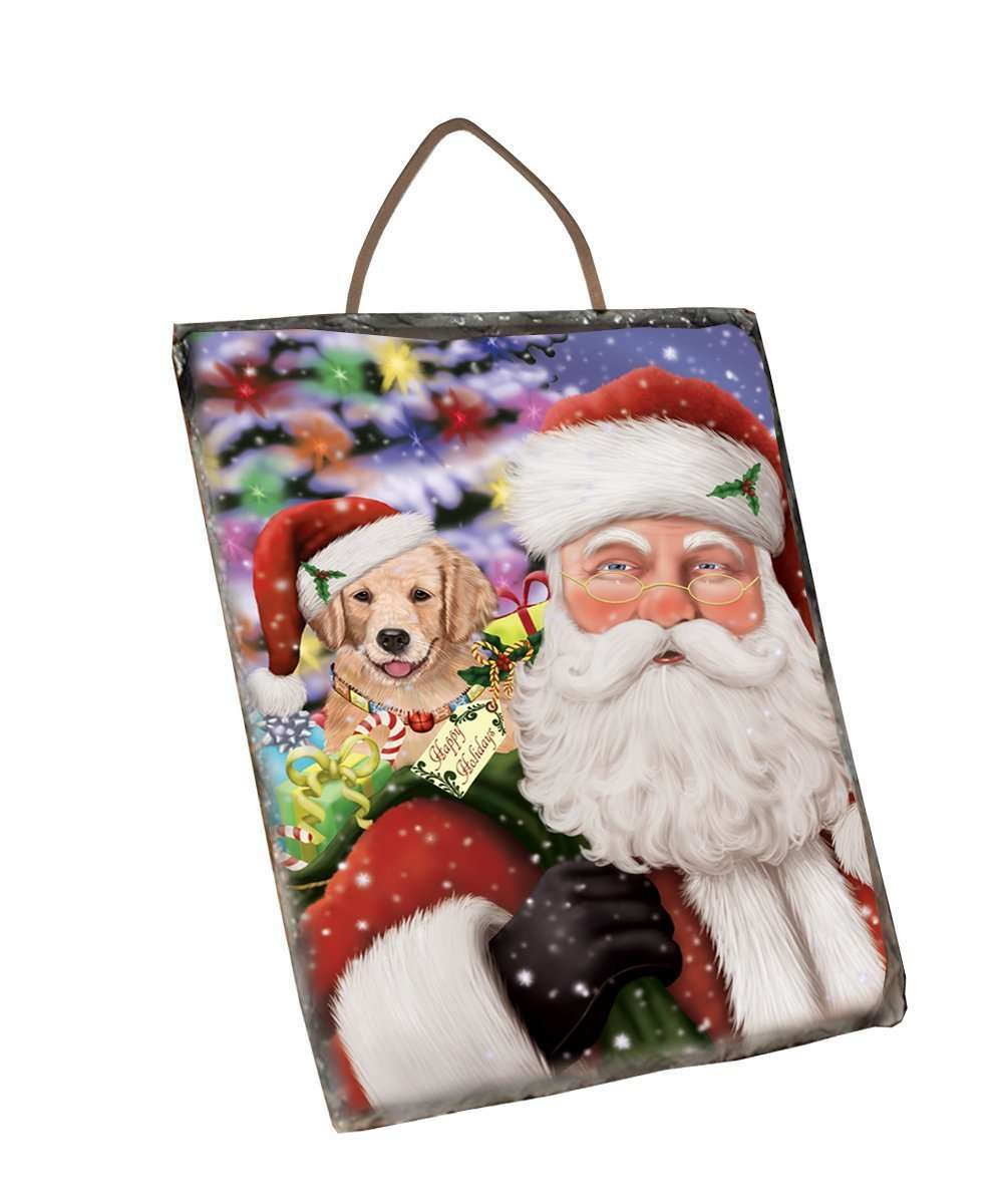 Jolly Old Saint Nick Santa Holding Golden Retrievers Dog and Happy Holiday Gifts Wall Décor Hanging Photo Slate