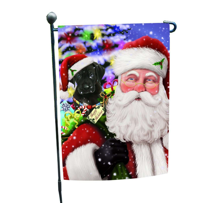 Jolly Old Saint Nick Santa Holding Great Dane Dog and Happy Holiday Gifts Garden Flag