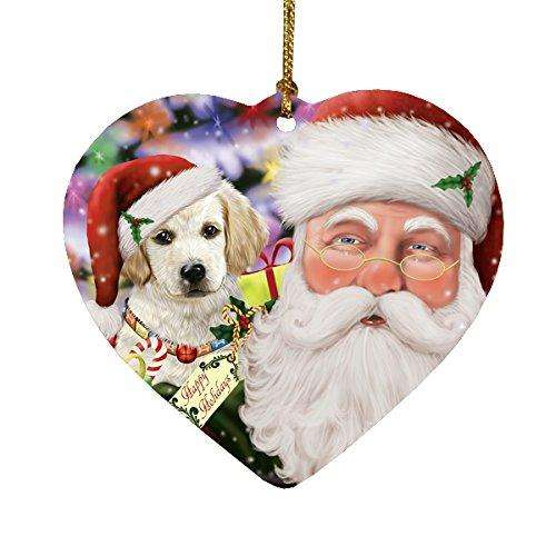 Jolly Old Saint Nick Santa Holding Labrador Dog and Happy Holiday Gifts Heart Christmas Ornament