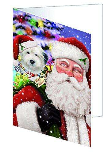 Jolly Old Saint Nick Santa Holding Old English Sheepdog Dog and Happy Holiday Gifts Greeting Card