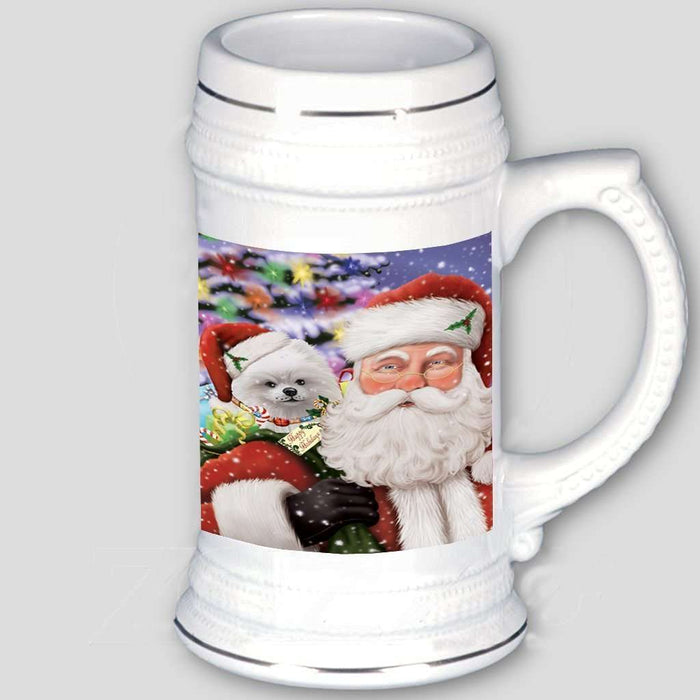 Jolly Old Saint Nick Santa Holding Pomeranians Dog and Happy Holiday Gifts Beer Stein