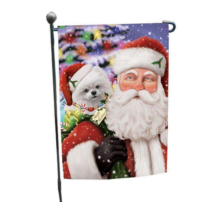 Jolly Old Saint Nick Santa Holding Pomeranians Dog and Happy Holiday Gifts Garden Flag