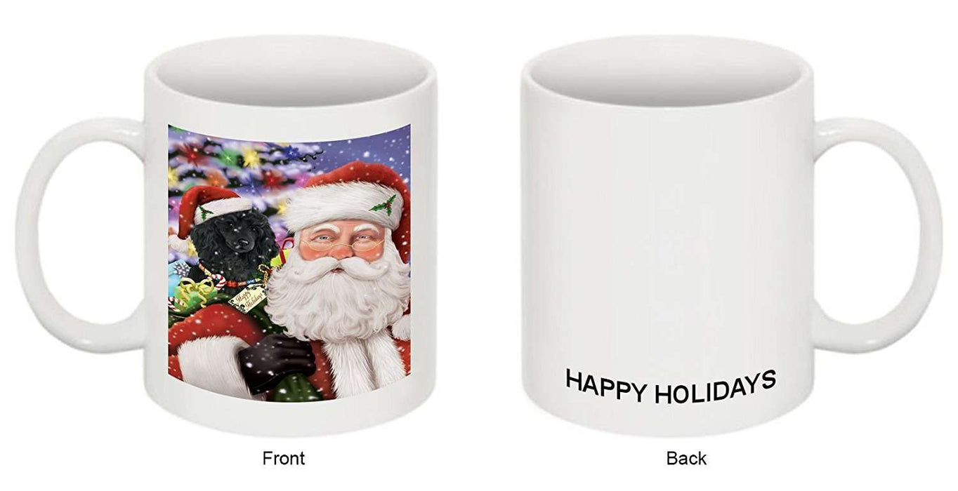 Jolly Old Saint Nick Santa Holding Poodles Dog and Happy Holiday Gifts Mug