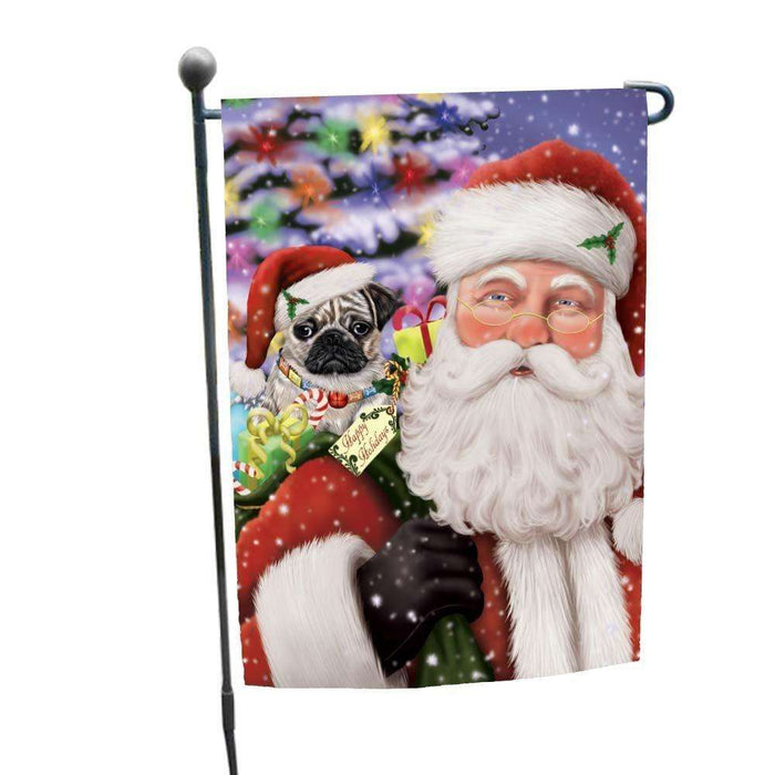 Jolly Old Saint Nick Santa Holding Pug Dog and Happy Holiday Gifts Garden Flag