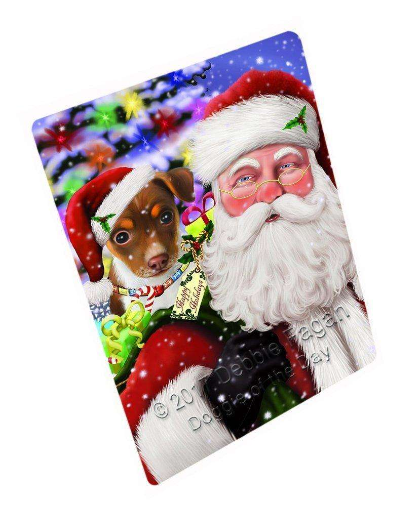 """Jolly Old Saint Nick Santa Holding Rat Terrier Dog And Happy Holiday Gifts Magnet Small (5.5"""" x 4.25"""") d130"""