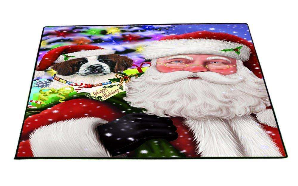 Jolly Old Saint Nick Santa Holding Saint Bernard Dog and Happy Holiday Gifts Indoor/Outdoor Floormat