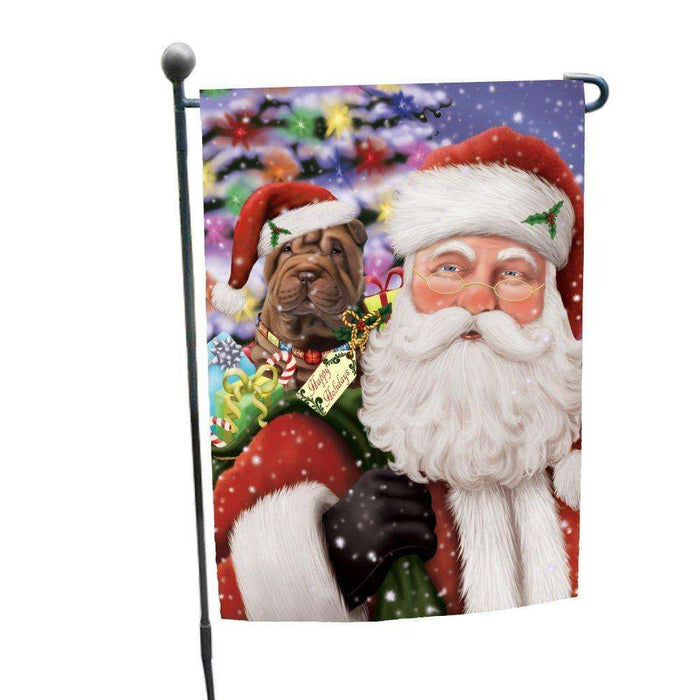 Jolly Old Saint Nick Santa Holding Shar Pei Dog and Happy Holiday Gifts Garden Flag