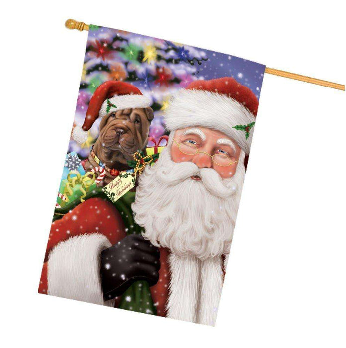 Jolly Old Saint Nick Santa Holding Shar Pei Dog and Happy Holiday Gifts House Flag