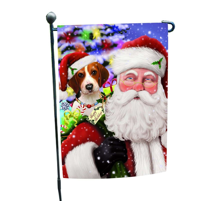 Jolly Old Saint Nick Santa Holding Treeing Walker Coonhound Dog and Happy Holiday Gifts Garden Flag