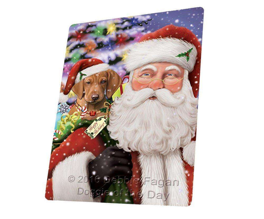 Jolly Old Saint Nick Santa Holding Vizsla Dog and Happy Holiday Gifts Magnet