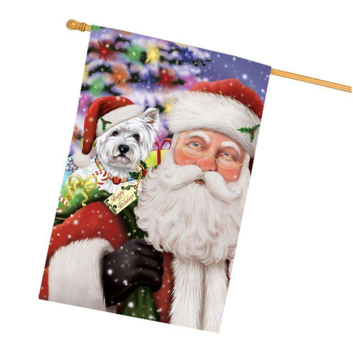 Jolly Old Saint Nick Santa Holding West Highland Terriers Dog and Happy Holiday Gifts House Flag
