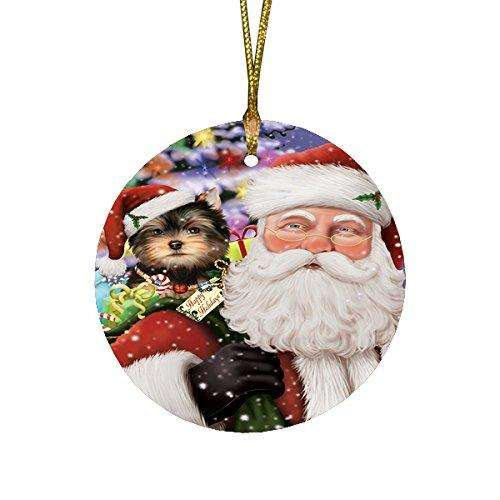 Jolly Old Saint Nick Santa Holding Yorkshire Terriers Dog and Happy Holiday Gifts Round Christmas Ornament