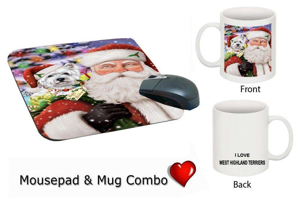 Jolly Santa Holding West Highland White Terrier Dog Christmas Holidays Mug & Mousepad Combo Gift Set MMCG0693