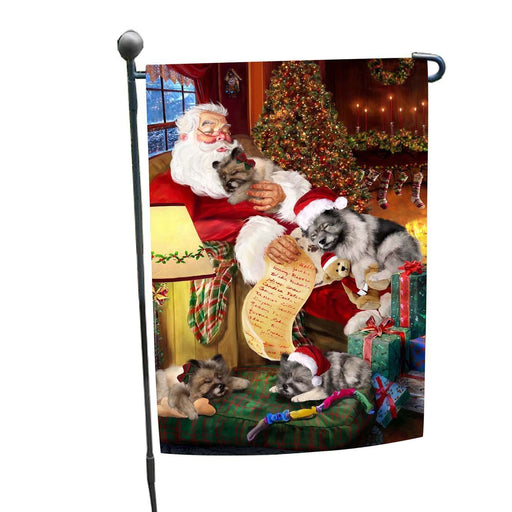 Keeshond Dog and Puppies Sleeping with Santa Garden Flag