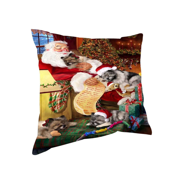 Keeshond Dog and Puppies Sleeping with Santa Throw Pillow