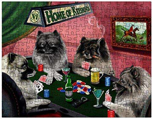 Keeshond Dogs Playing Poker 500 Pc. Puzzle with Photo Tin