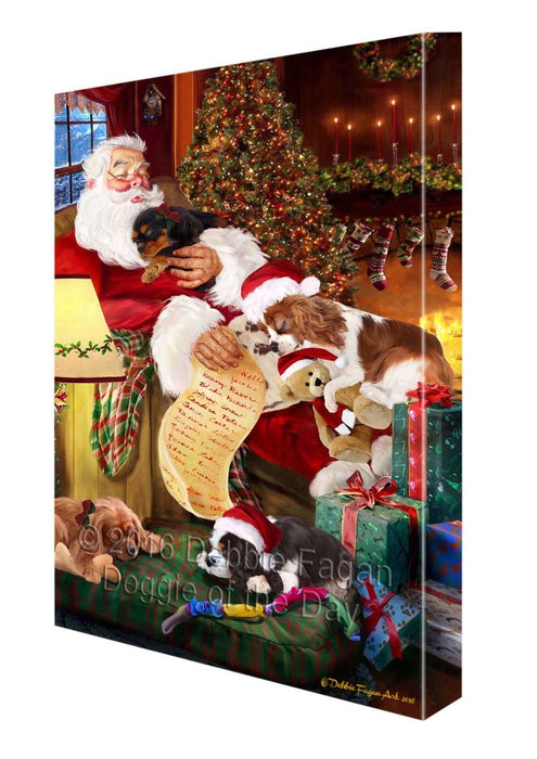 "King Charles Cavalier Spaniel Dog and Puppies Sleeping with Santa Canvas Gallery Wrap 1.5"" Inch"