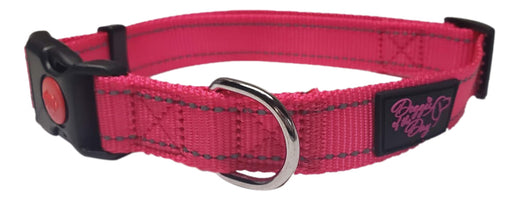 Reflective Nylon Buckle Dog Collar Pink- We Donate to Rescues For Each Collar Purchased