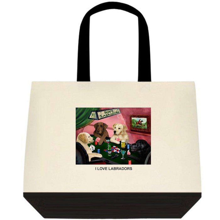 Labrador 4 Dogs Playing Poker Two-Tone Deluxe Classic Cotton Tote Bags