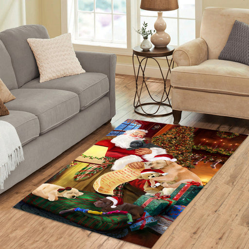Santa Sleeping with Labrador Retriever Dogs Area Rug