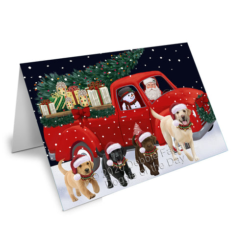 Christmas Express Delivery Red Truck Running Labrador Retriever Dogs Greeting Card GCD75158