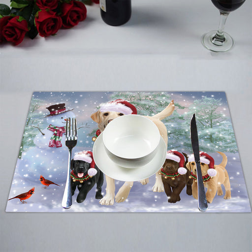 Christmas Running Fammily Labrador Retriever Dogs Placemat
